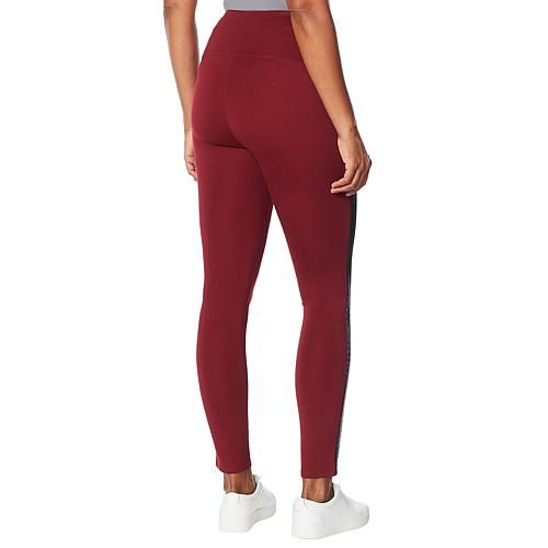 DG2 by Diane Gilman Slim and Sleek Ponte Side Stripe Legging A quilted stripe lends a sporty flair to this luxurious legging featuring a