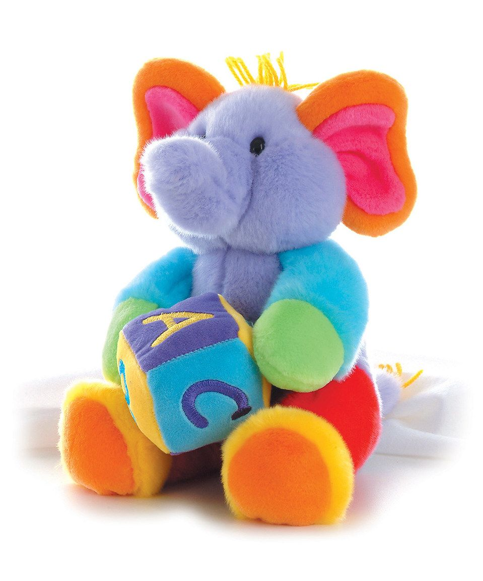 Love This Purple Abc Block Musical Elephant Plush Toy By Aurora