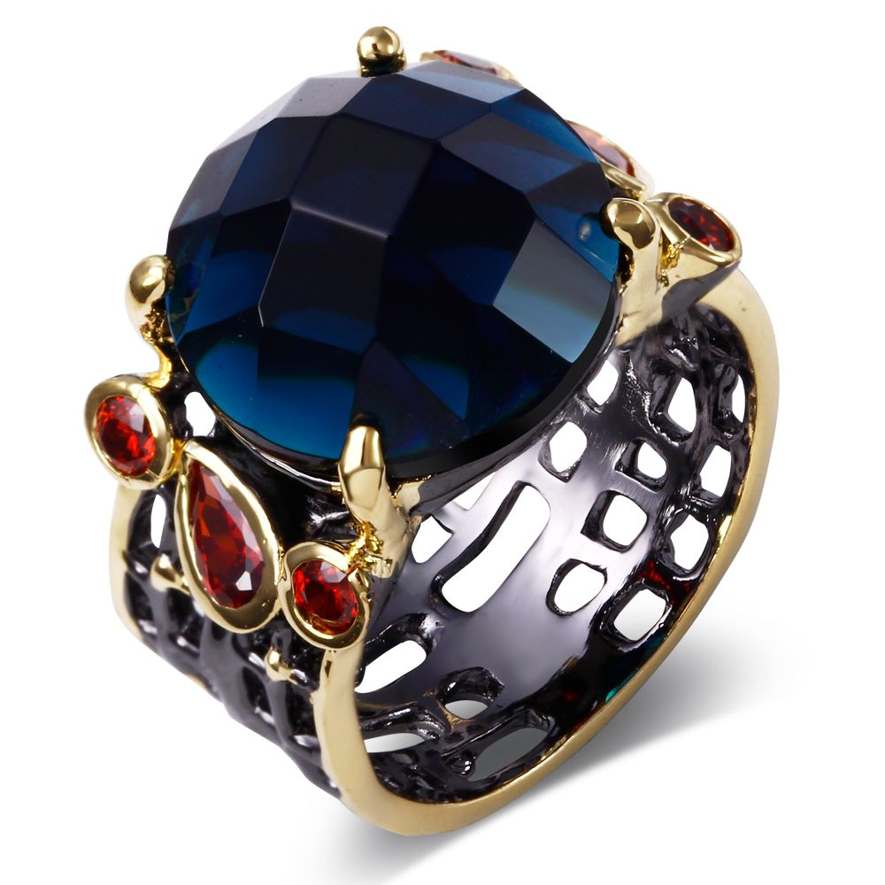 pin blue rings stone montana big crystal tone gold wedding with round ring setting plate and pave black