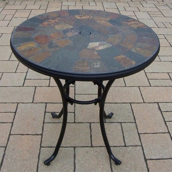 Oakland Living Stone Art Bistro Table ($187) ❤ liked on Polyvore featuring home, outdoors, patio furniture, outdoor tables, black outdoor bistro set, black bistro table, black outdoor table, outside bistro set and outdoor bistro table