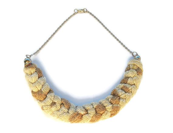 Sparkling Beige Brown fabric braided necklace by AmazoniaStyle, €15.00