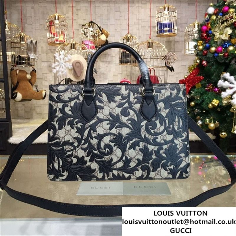 6b253dae71a Gucci Arabesque Canvas Top Handle Bag Fall Winter 2016 Collection Black  Beige