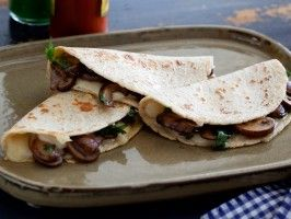 Cheese and Mushroom Quesadillas: Quesadillas de Queso y Hongos : Recipes : Cooking Channel