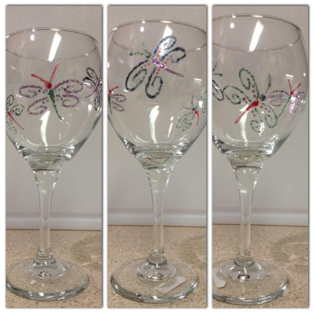 Wineglass painting. Martha Stewart paints.   Glasritzen   Pinterest