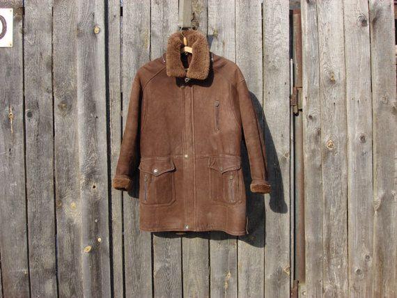 Vintage 1980 Men 39 S Sheepskin Coat Jacket Elazar Leather Praha Size Xl Sheepskin Coat Coats Jackets Jackets