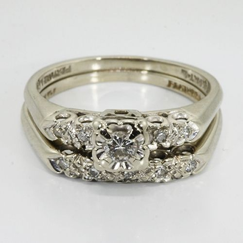 Merveilleux Vintage Wedding Rings | 14K White Gold Diamond Vintage Wedding Ring Set |  Online Pawn Shop