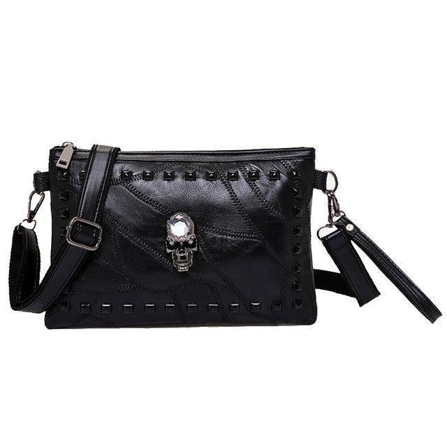 1d9fb75dc58c03 Hot Sale Genuine Sheepskin Leather Women Shoulder Bag Patchwork Skull Head  Messenger Bag Fashion Rivet Design