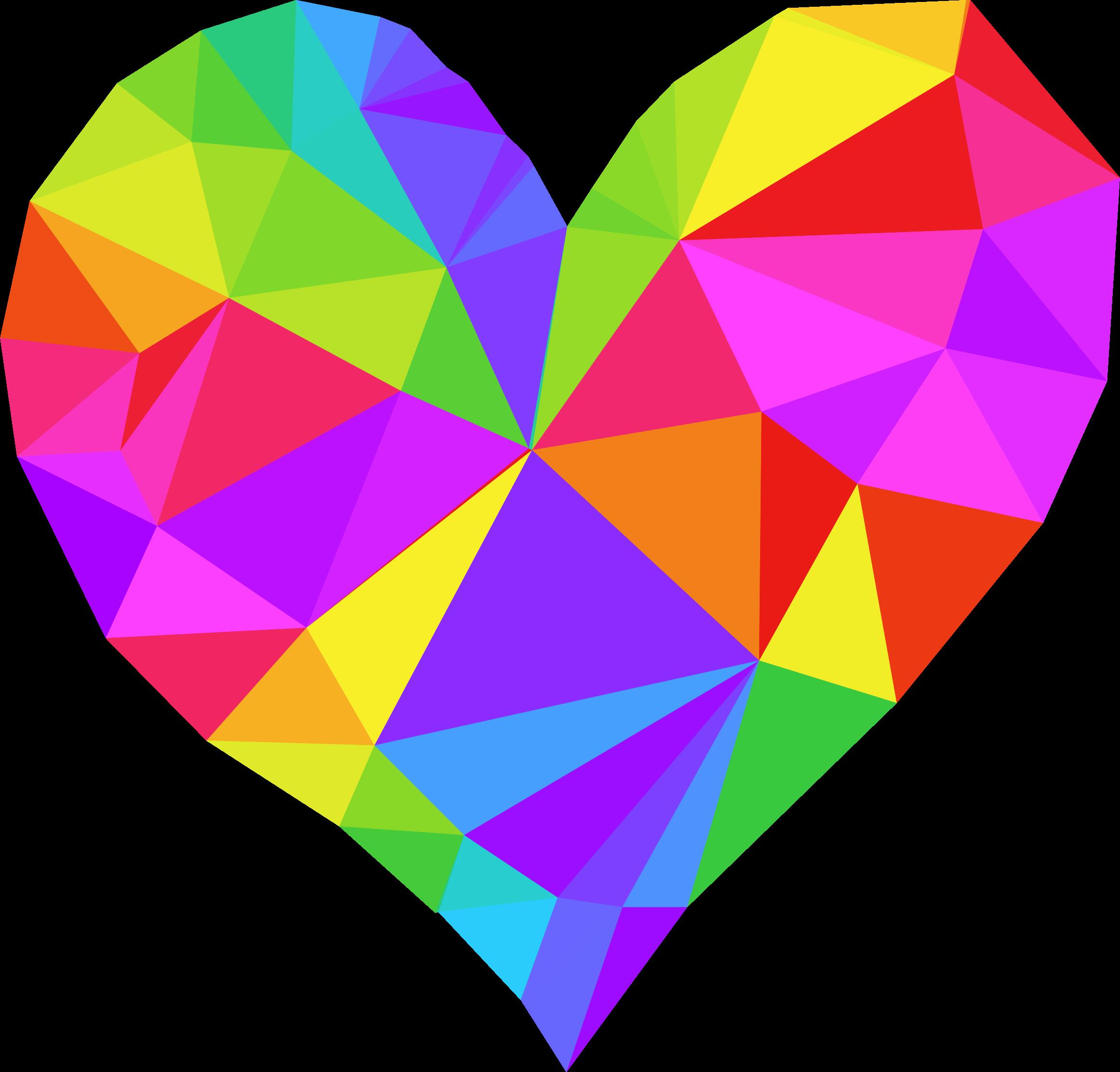 Low Poly Heart Art Logo Rainbow Colors Heart Art