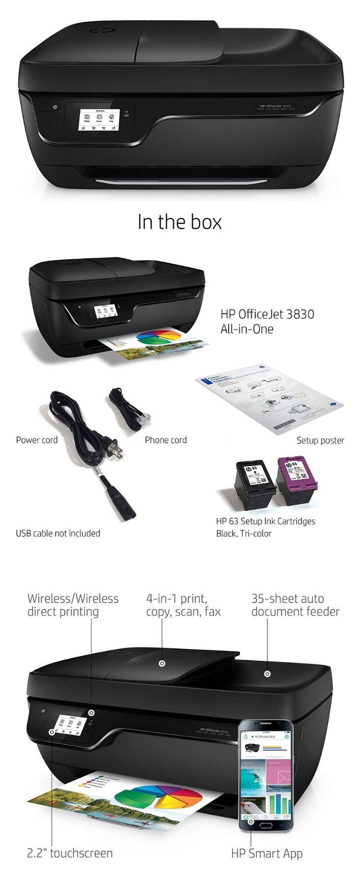 Main functions of this HP color inkjet photo printer copy