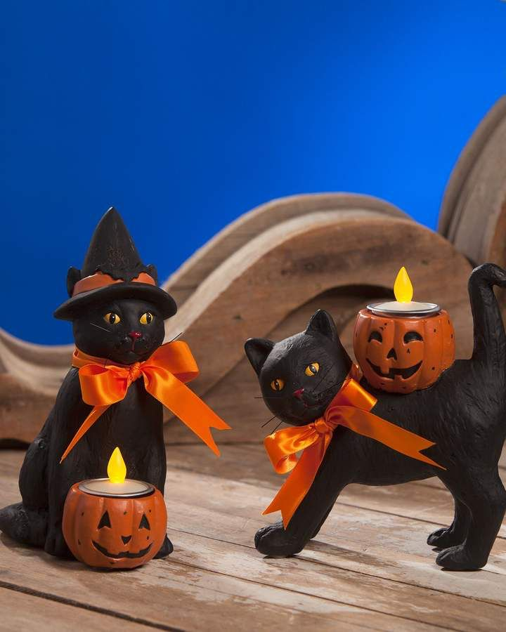 Bethany Lowe Black Cat Halloween Votive Candleholders, Set of Two - lowes halloween inflatables