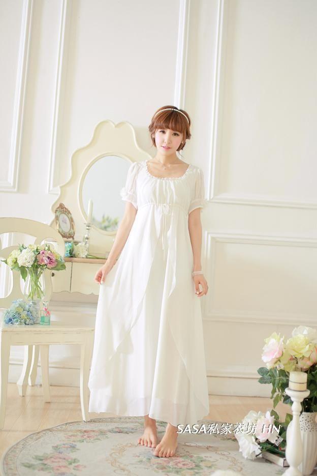 Aliexpress.com : Buy Ladies Elegant Vintage Chiffon Nightgowns ...
