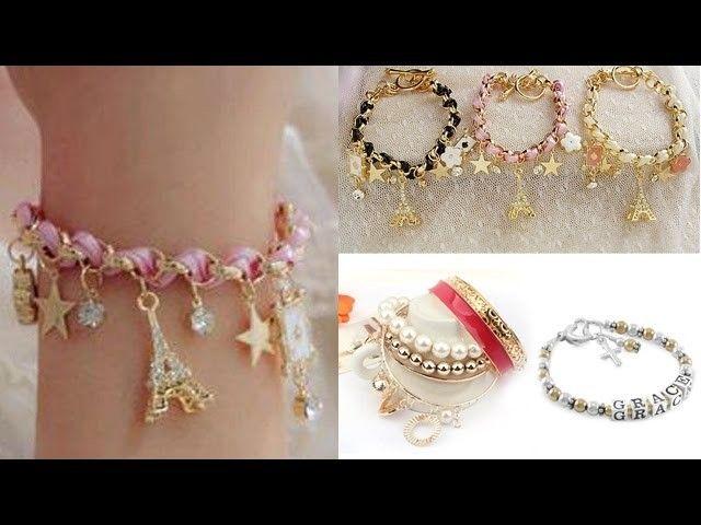 Fashionable Gl Bangles Funky Bracelets Gold Crystal Charm Bracelet For S