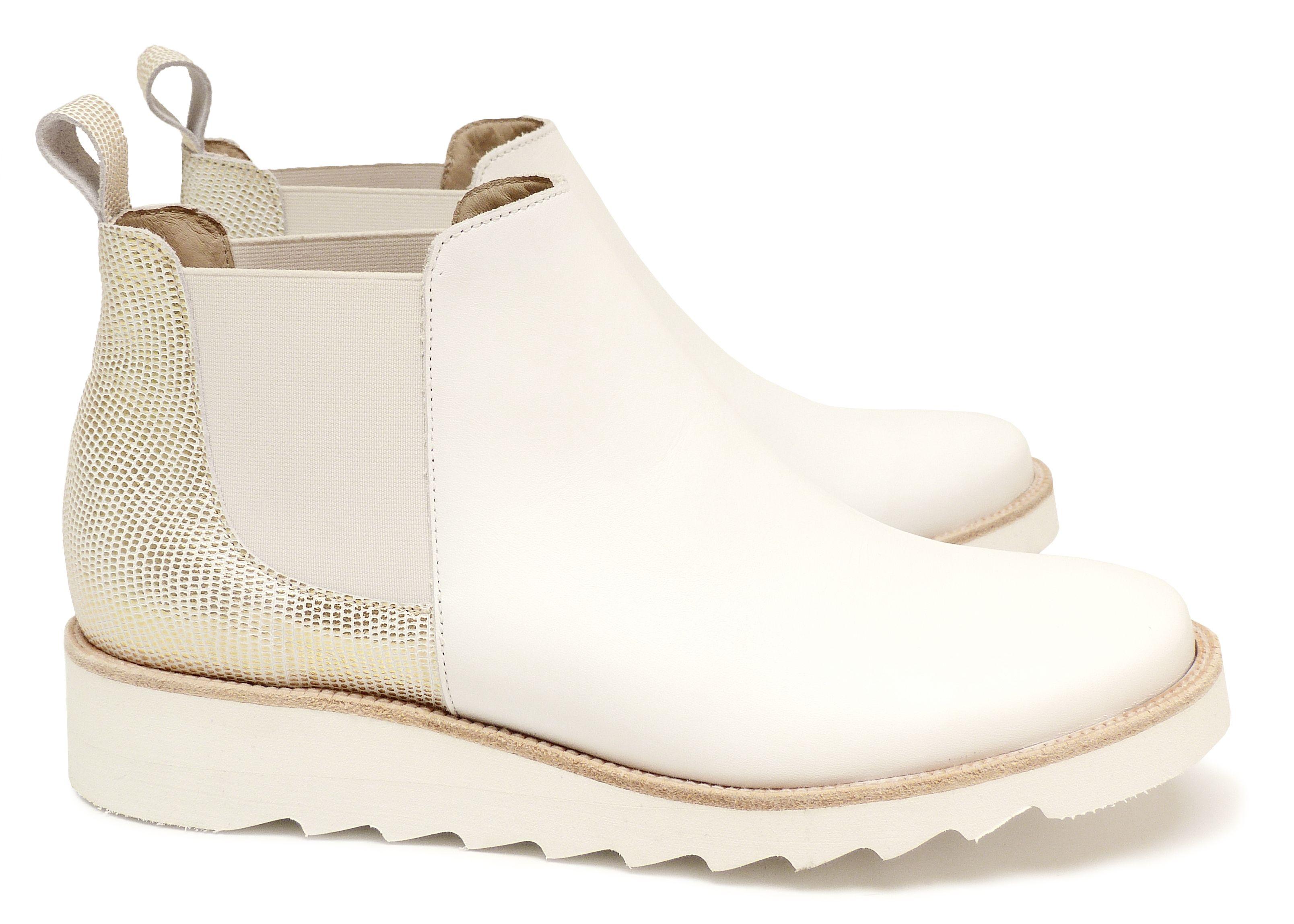 621b39d5824 Chaussure Femme Boots Printemps Ete 2015 Maurice Manufacture BRENDA Cuir  lisse Blanc - Razza Or