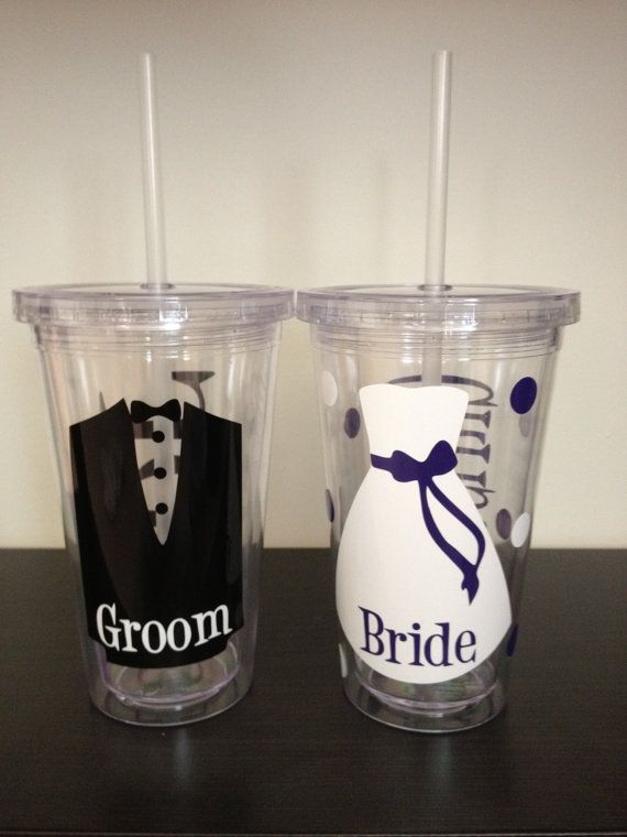Bride and Groom Wedding Personalized 16oz Acrylic by CraftsByAF, $23.00