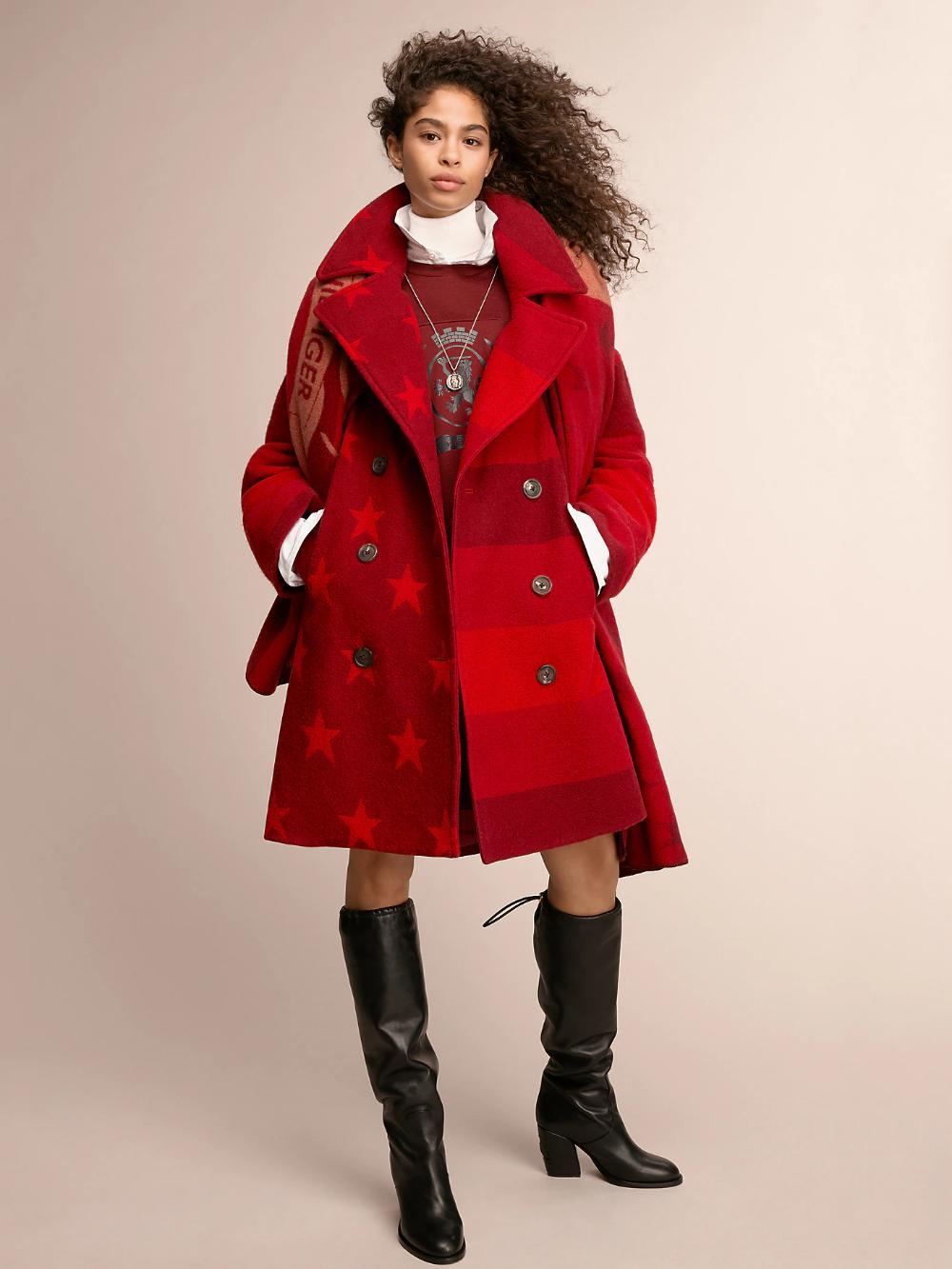 Crest Quilted Blanket Coat Cabernet Multi Tommy Hilfiger Coat Women S Coats Jackets Tommy Hilfiger [ 1333 x 1000 Pixel ]