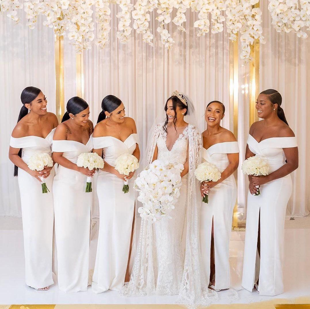 White Off The Shoulder Satin Long Bridesmaid Dresses Ruched Split Sweep Train Wedding Guest Maid Of Honor Dresses In 2021 White Bridesmaid Maid Of Honour Dresses Pencil Bridesmaids Dresses [ 1077 x 1078 Pixel ]