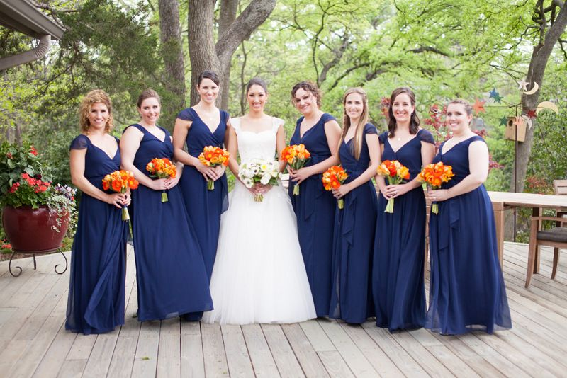 Navy Orange Bridesmaid Dresses And Bouquets Www Significanteventsoftexas Com Orange Bridesmaid Dresses Bridal Bridal Party