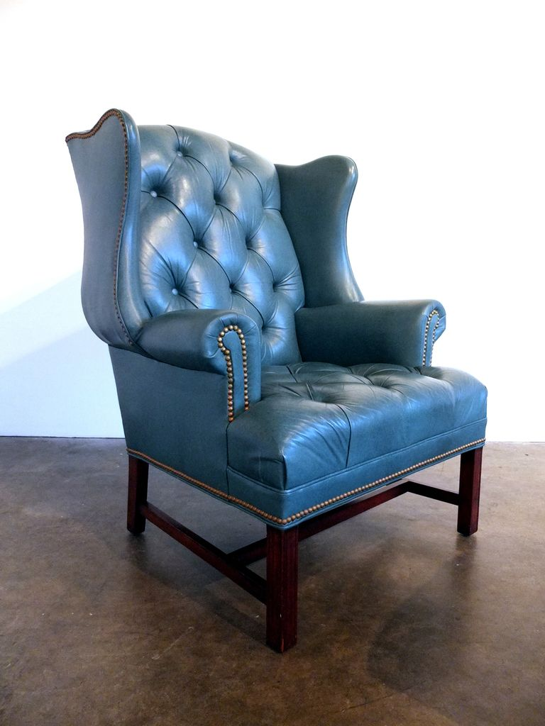 Tufted Leather Wingback Chair And Ottoman By Hancock U0026 Moore