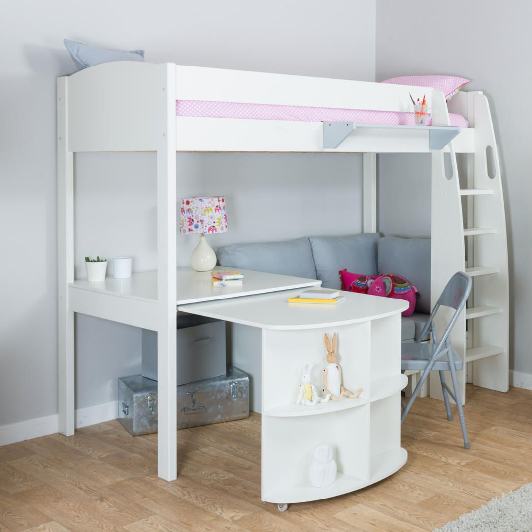 Stompa Uno S Plus High Sleeper Bed With Pull Out Desk And Chair White Grey Online At Johnlewis 1099