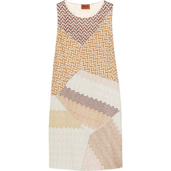 Missoni Metallic crochet-knit mini dress ($824) ❤ liked on Polyvore featuring dresses, yellow, multi color dress, multicolor dress, multi colored dress, missoni dress and slimming dresses