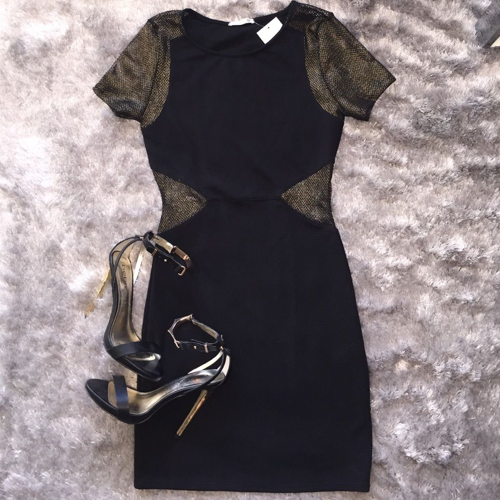 New nordstrom soprano black u gold dress size s products