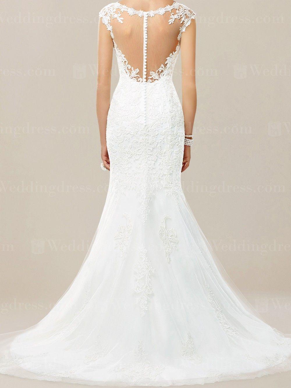 White mermaid wedding dress  Lace Mermaid Wedding Dress ME  Gorgeous dresses  Pinterest