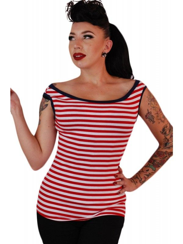 Pinky Pinups Women's Boat Neck Sleeveless Top - Red/White Striped