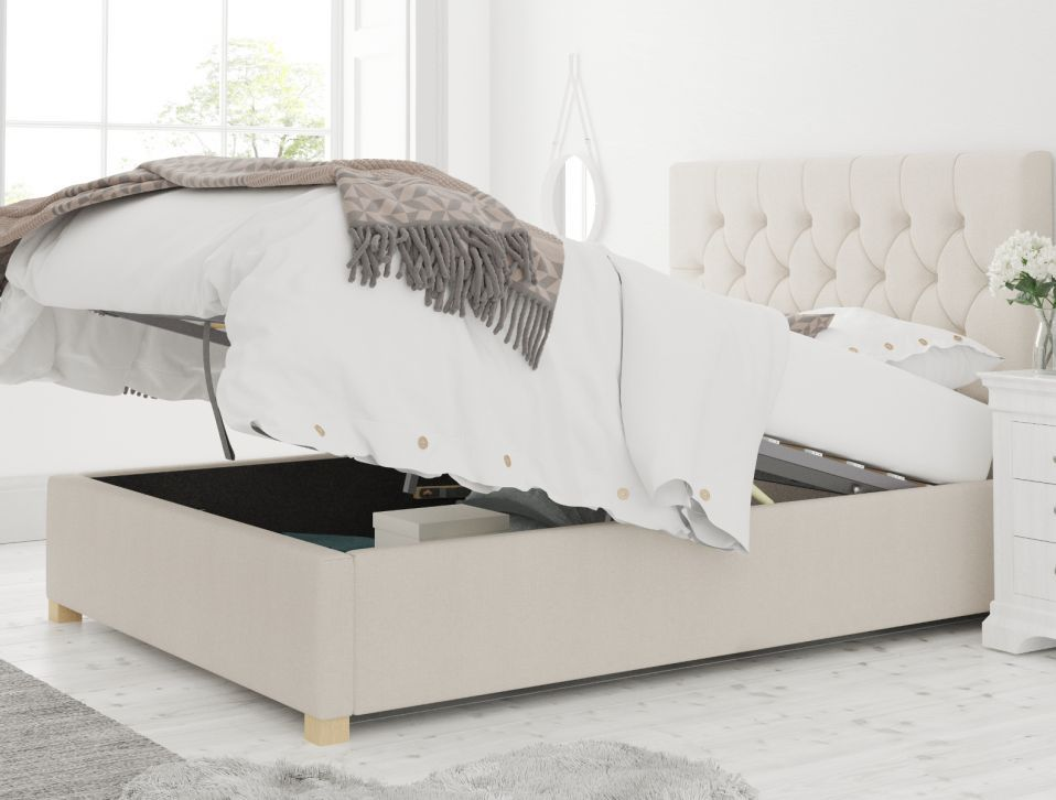 York Ottoman Eire Linen Off White Bed Frame Only In 2020 White