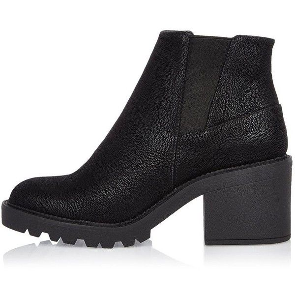 River Island Black textured chunky ankle boots (€72) ❤ liked on Polyvore featuring shoes, boots, ankle booties, women, black, shoes / boots, chunky booties, short boots, black ankle booties and bootie boots