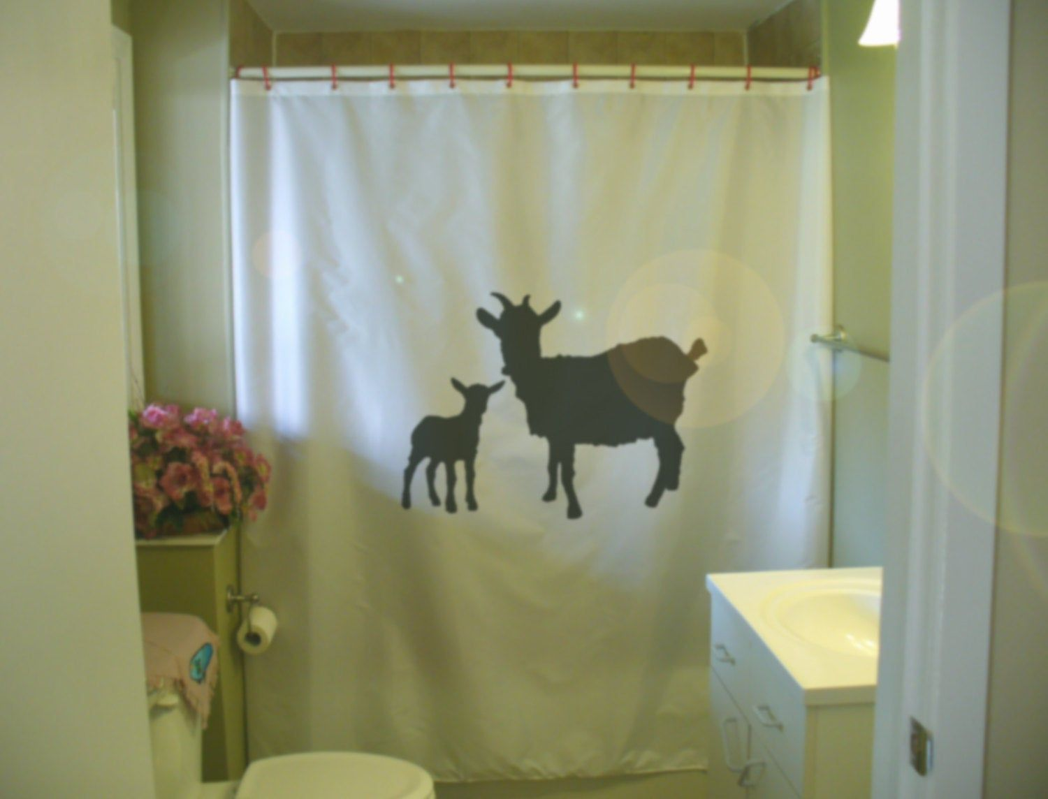 Mother Goat And Kid Shower Curtain Farm Animal Farming Nature