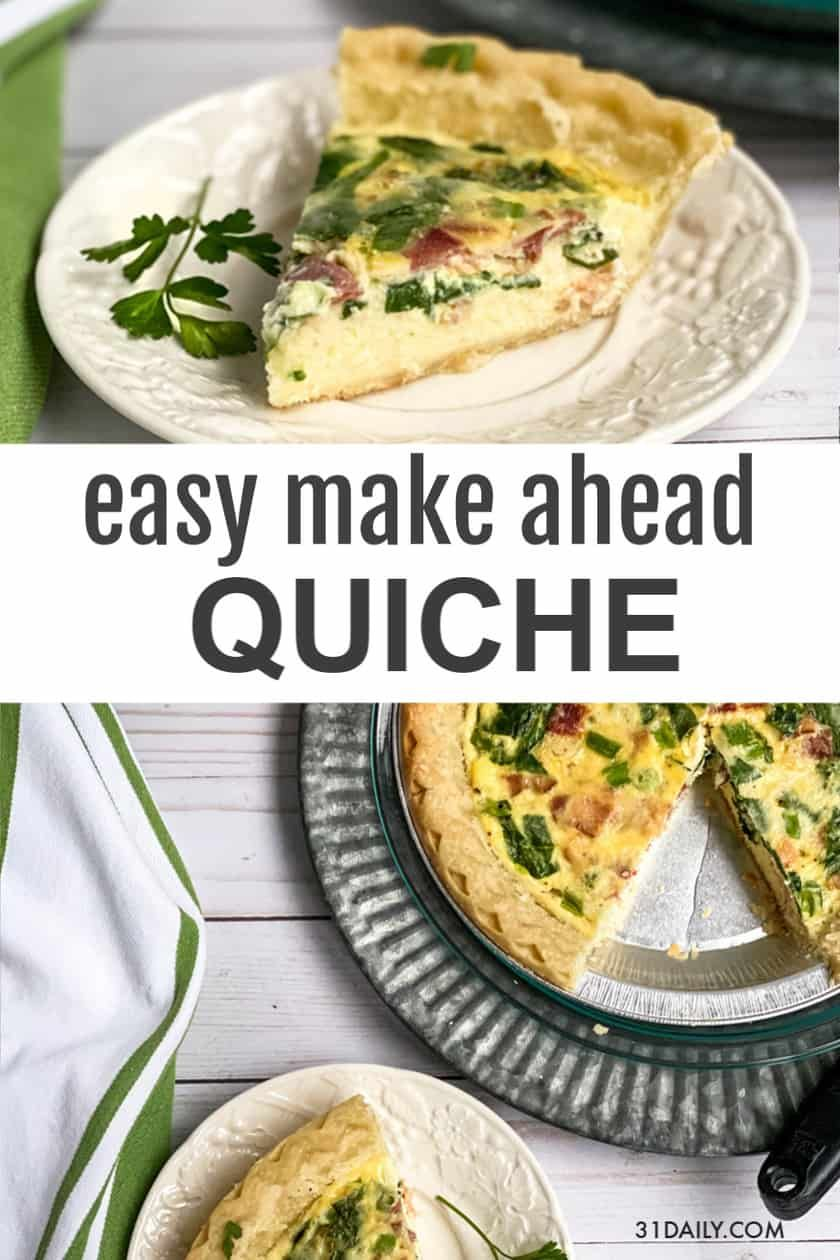 Make Ahead Quiche with Bacon, Cheese, and Spinach