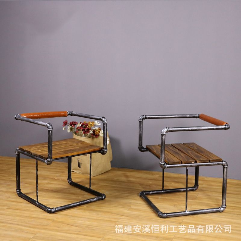 loft American retro chairs wrought iron chairs cafe chair backrest creative pipe reinforcement coffee lounge chair