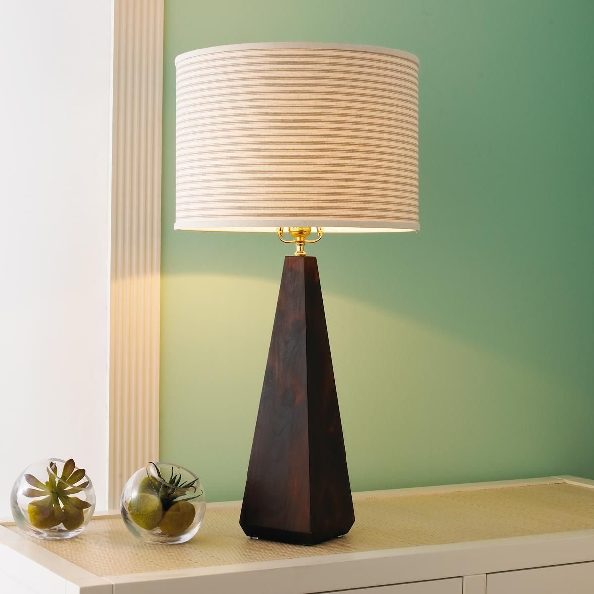 Artisan wood square pyramid lamp base different shade an whiskey glass shade drum table lamp by brooklyn lamps geotapseo Image collections