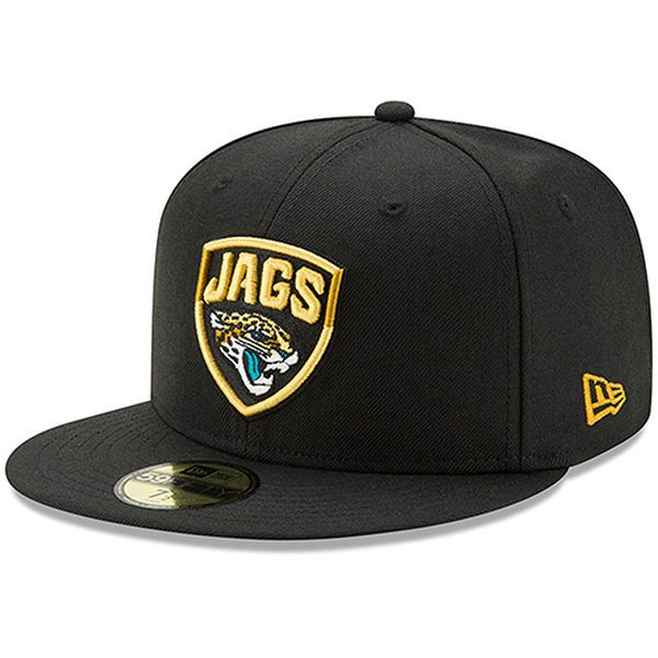 87576c2bcfb Jacksonville Jaguars New Era Shield Logo Omaha 59FIFTY Fitted Hat - Black 7  5 8