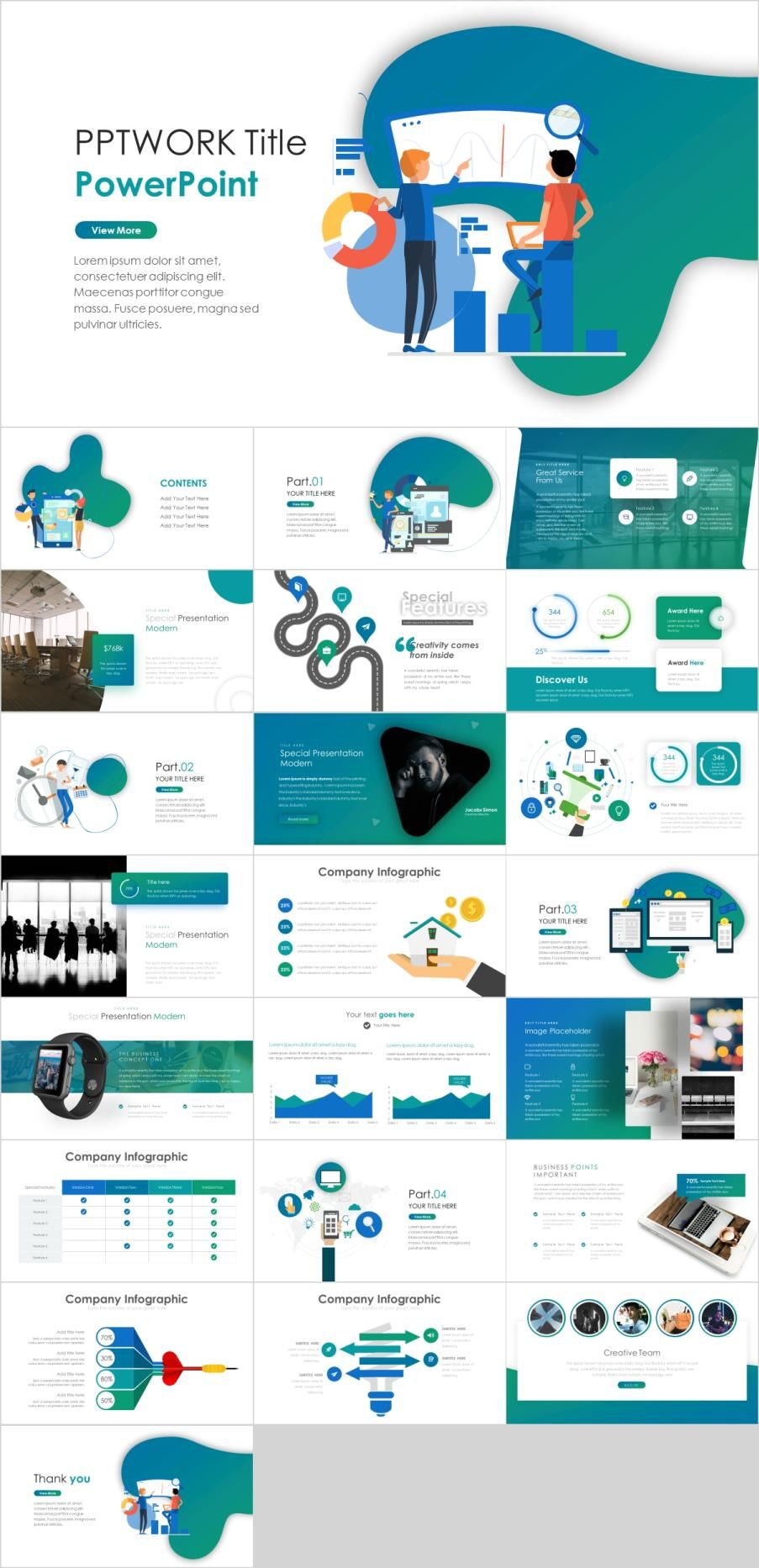 Best Blue Infographic Report Powerpoint Template Simple