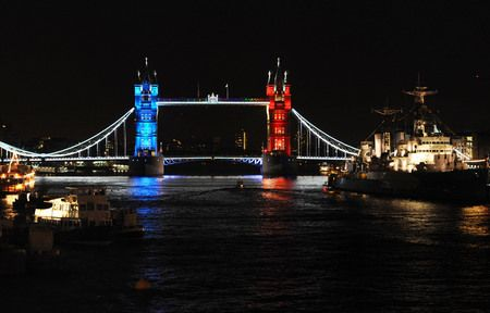 Diamond Jubilee preparations, London Bridge all lit up. I can't wait till the celebrations begins!