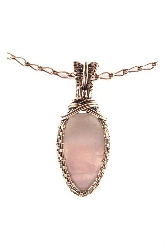Rose Quartz Cross Antique Copper Pendant Necklace Wire Wrap Jewelry ...