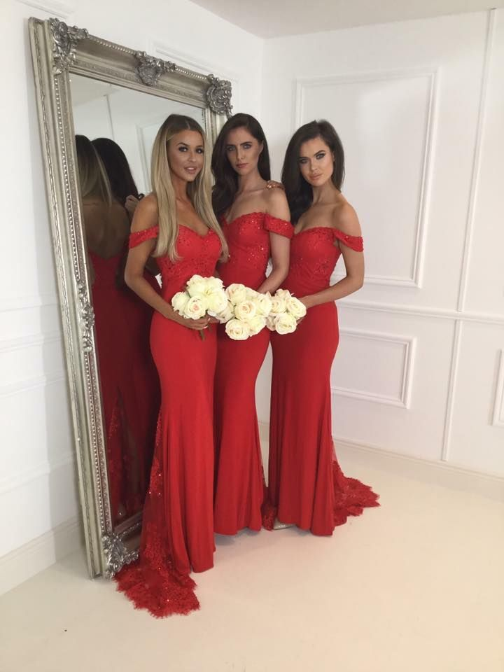 eed44868d2 Stylish Off Shoulder Mermaid Red Bridesmaid Dress with Lace Sequins ...