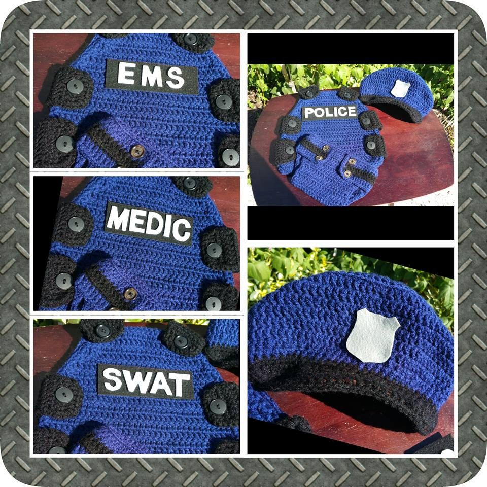 Hand crocheted Police, SWAT, Medical and EMS Vest, hat and Diaper ...