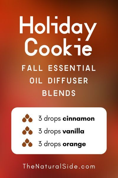 11 Fall Essential Oil Diffuser Blends to Warm Your Home Up Holiday Cookie  3 drops Cinnamon  3 drops Vanilla  3 drops Orange  Essential Oils Recipes via