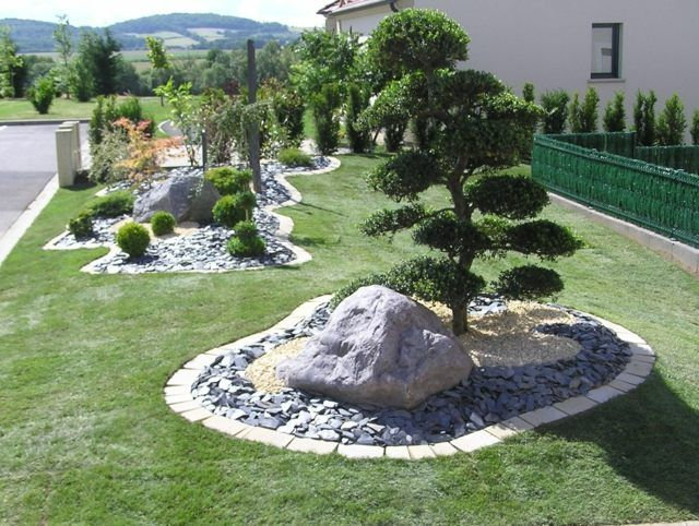 Amenagement Massif Mineral Gazon Jardins Amenagement Paysager