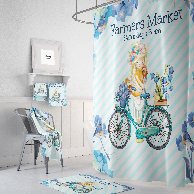 Blue shower curtain farmhouse theme bathroom decor in