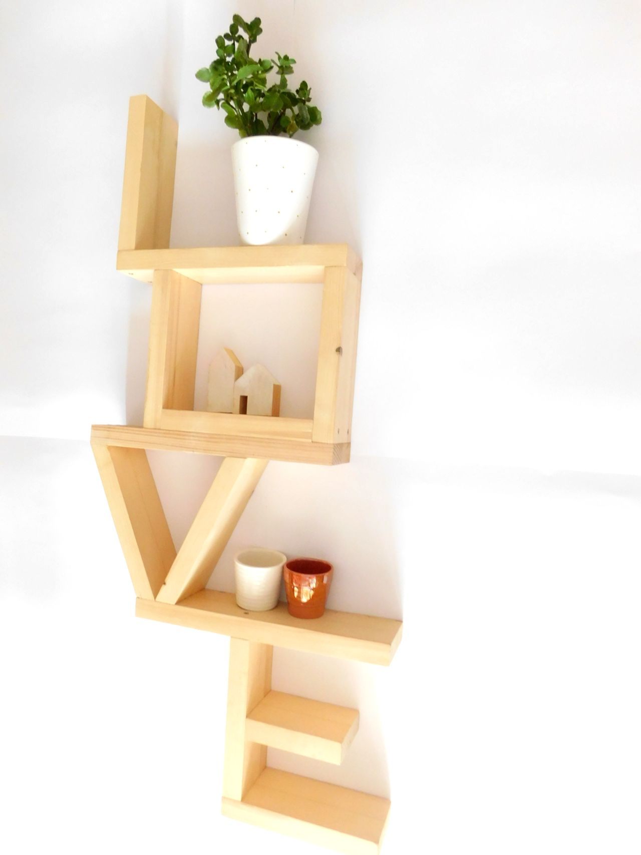 Wooden shelf/Shelves/ Modern shelf/Natural wood shelf/Unique shelves ...
