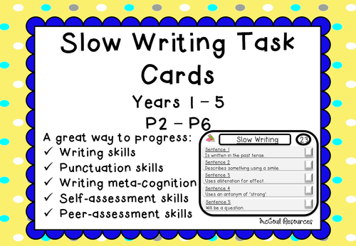 Slow Writing Task Cards  Classroom Ideas    Literacy