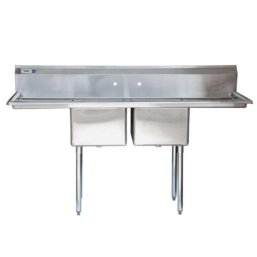 Regency 16 Gauge Two Compartment Stainless Steel Commercial Sink With 2 Drainboards 72 Long 17 X 17 X 12 Comp Commercial Sink Sink Stainless Steel Sinks