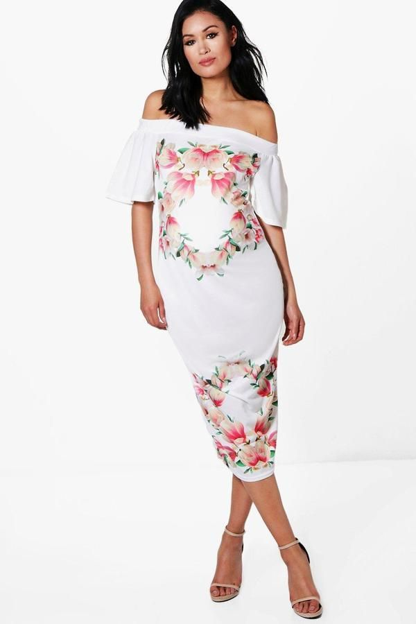 5a909fce8704b Maternity Eva Off The Shoulder Floral Midi Dress   Maternity Dresses ...