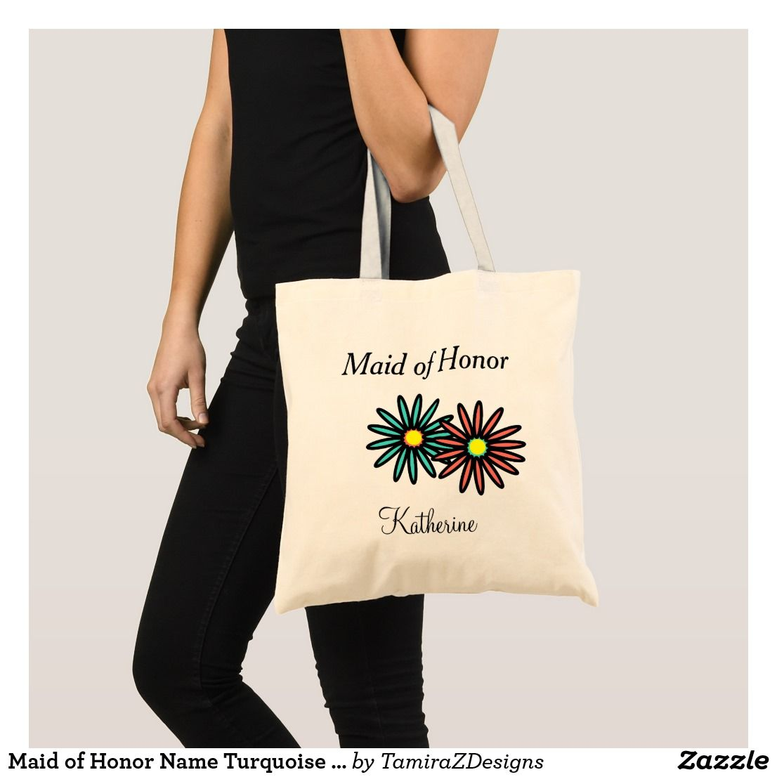 Maid of Honor Name Turquoise Coral Flowers Tote Bag | Zazzle.com