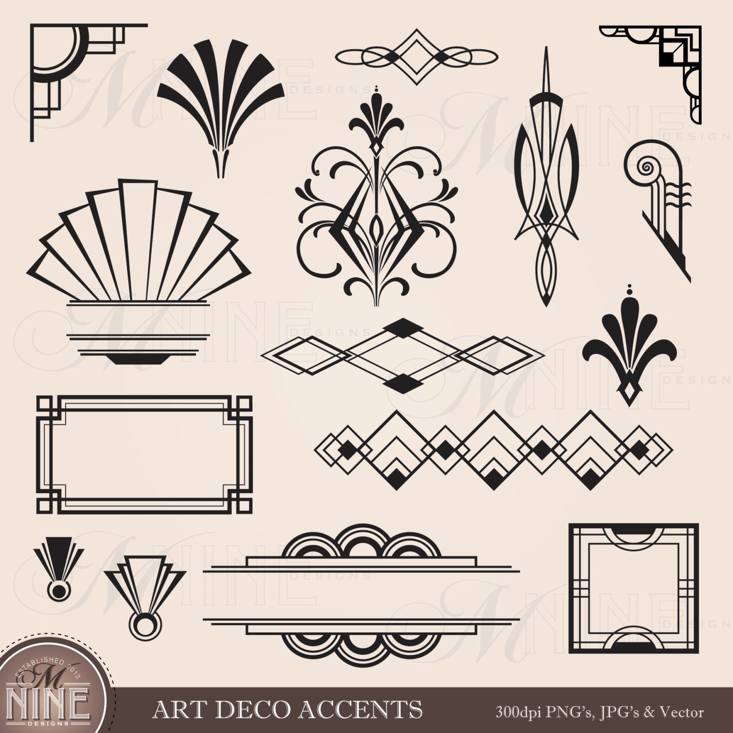 digital clipart art deco design elements frames borders flourishes instant download vintage frames antique clip art black silhouette