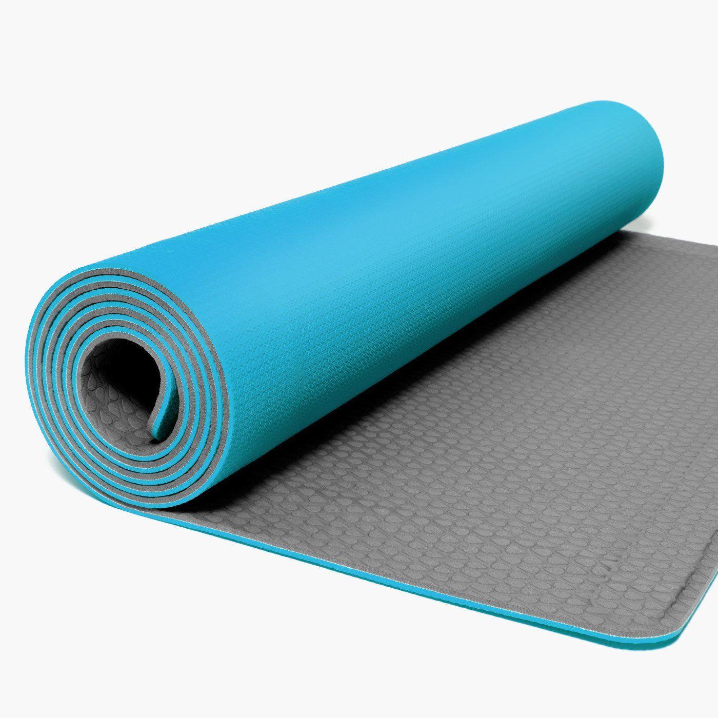 Yoyo Mats Self Rolling Fitness Yoga Mat 24 X 72 Blue Grey 24 X72 5mm 2 75 Lbs Lay Down Flat With No Curl Yoga Accessories Yoga Mat Yoga Fitness