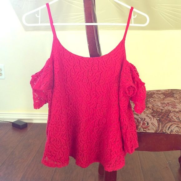 Red Jessica Simpson blouse Red, lacey, cold shoulder blouse. Only worn once and in great condition. Fits too small on me now, unfortunately. Jessica Simpson Tops Blouses